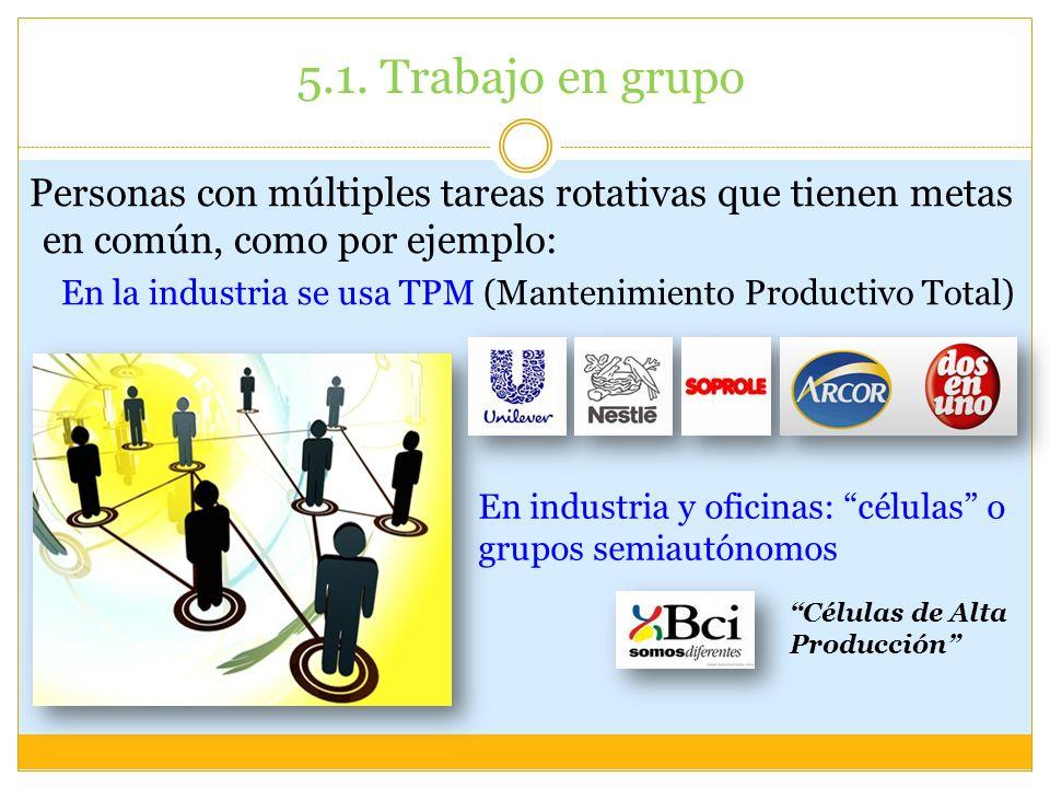 5.1. Trabajo en grupo Personas con múltiples tareas rotativas que tienen metas en común, como por ejemplo: En la industria se usa TPM (Mantenimiento P