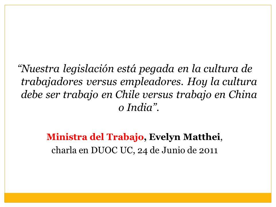 Nuestra legislación está pegada en la cultura de trabajadores versus empleadores. Hoy la cultura debe ser trabajo en Chile versus trabajo en China o I