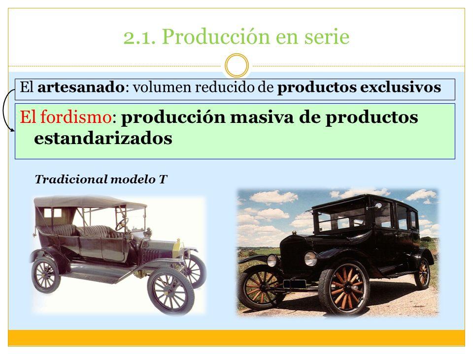2.1. Producción en serie El artesanado: volumen reducido de productos exclusivos El fordismo: producción masiva de productos estandarizados Tradiciona