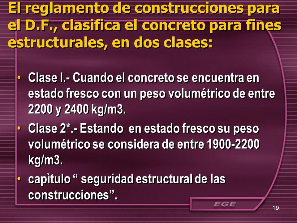 El reglamento de construcciones para el D.F., clasifica el concreto para fines estructurales, en dos clases: Clase I.- Cuando el concreto se encuentra