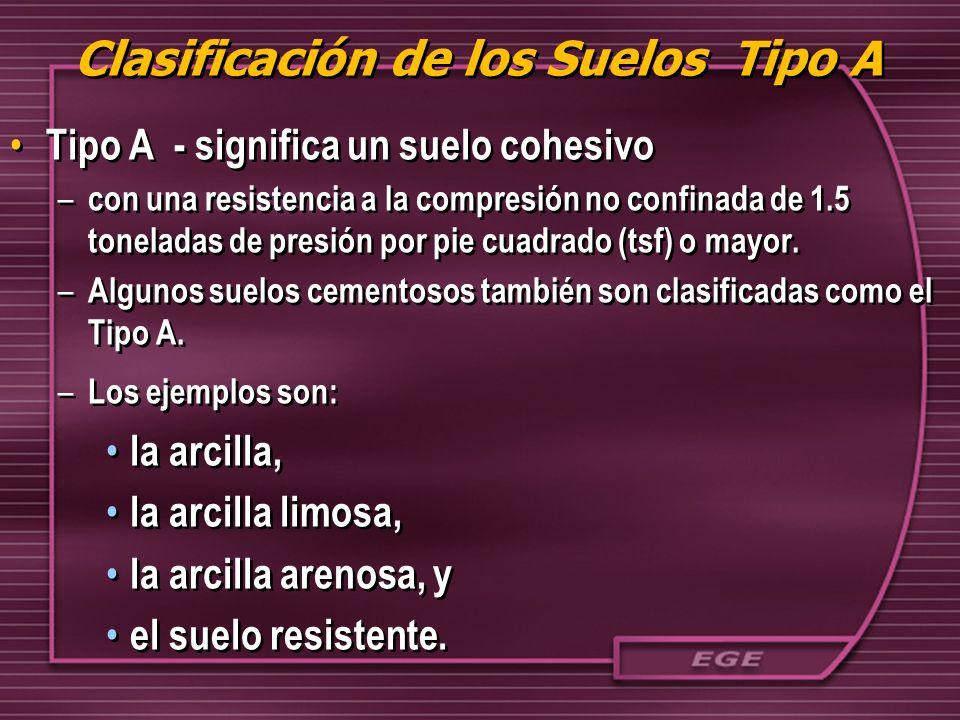 Clasificación de los Suelos Tipo A Tipo A - significa un suelo cohesivo – con una resistencia a la compresión no confinada de 1.5 toneladas de presión