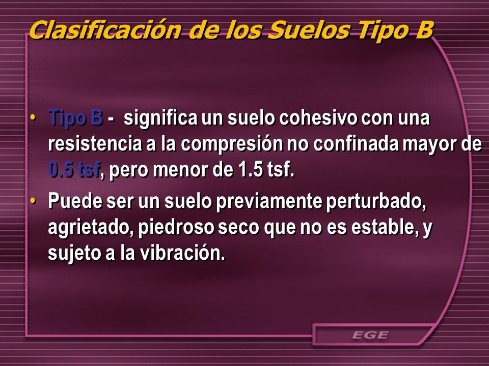 Clasificación de los Suelos Tipo B Tipo B - significa un suelo cohesivo con una resistencia a la compresión no confinada mayor de 0.5 tsf, pero menor