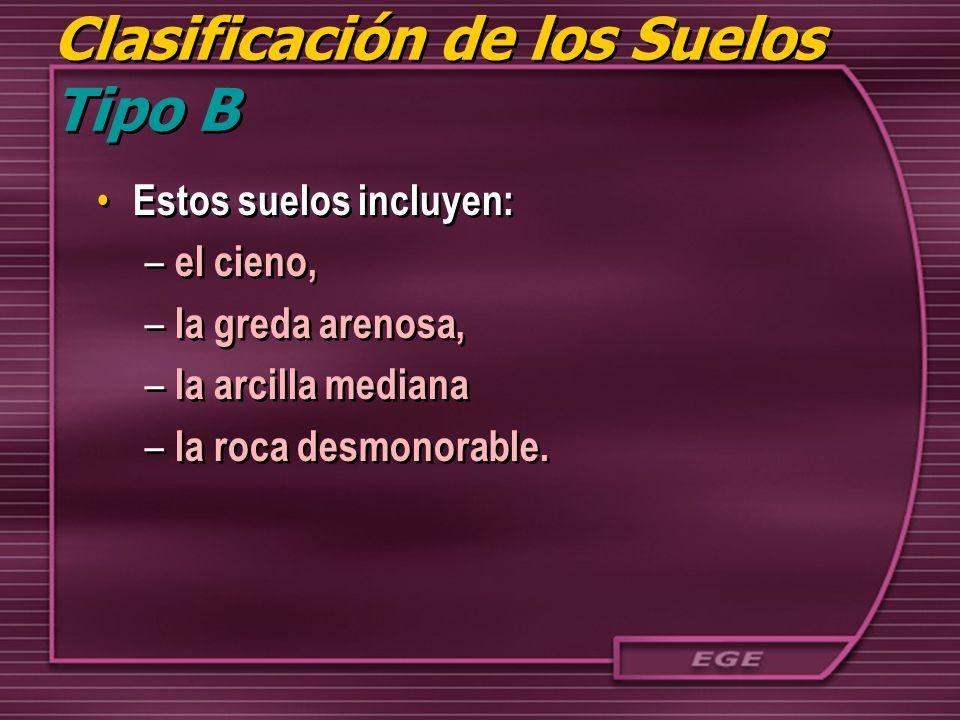 Clasificación de los Suelos Tipo B Estos suelos incluyen: – el cieno, – la greda arenosa, – la arcilla mediana – la roca desmonorable. Estos suelos in