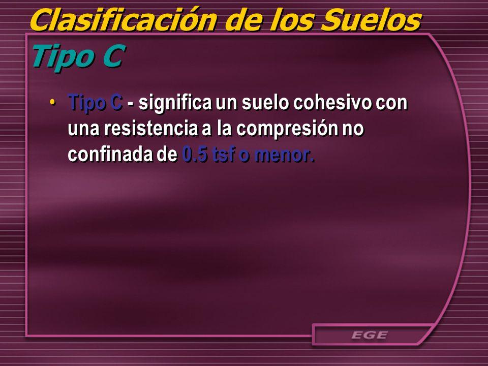Clasificación de los Suelos Tipo C Tipo C - significa un suelo cohesivo con una resistencia a la compresión no confinada de 0.5 tsf o menor.