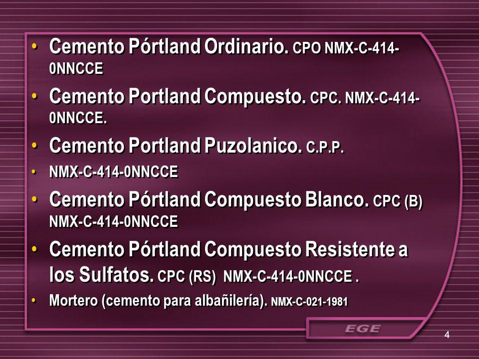 Cemento Pórtland Ordinario. CPO NMX-C-414- 0NNCCE Cemento Portland Compuesto. CPC. NMX-C-414- 0NNCCE. Cemento Portland Puzolanico. C.P.P. NMX-C-414-0N