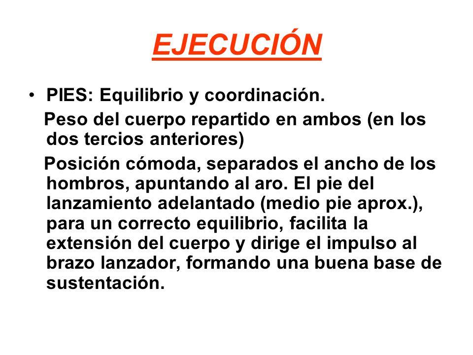 EJECUCIÓN PIES: Equilibrio y coordinación. Peso del cuerpo repartido en ambos (en los dos tercios anteriores) Posición cómoda, separados el ancho de l