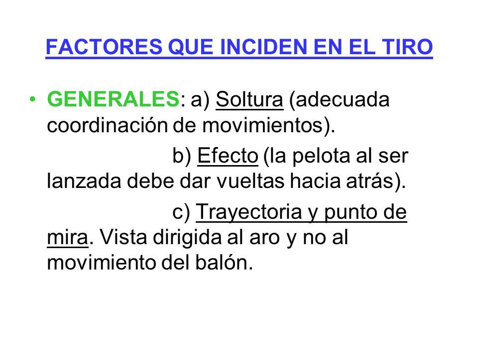 FACTORES QUE INCIDEN EN EL TIRO GENERALES: a) Soltura (adecuada coordinación de movimientos). b) Efecto (la pelota al ser lanzada debe dar vueltas hac