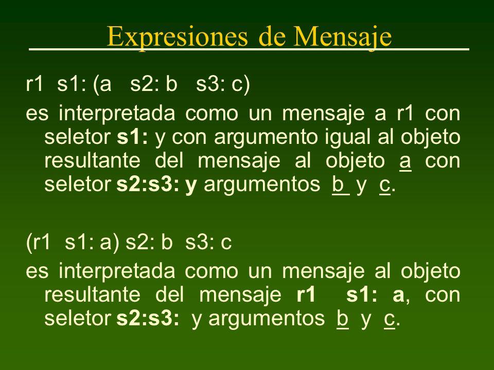 Expresiones de Mensaje r1 s1: (a s2: b s3: c) es interpretada como un mensaje a r1 con seletor s1: y con argumento igual al objeto resultante del mensaje al objeto a con seletor s2:s3: y argumentos b y c.