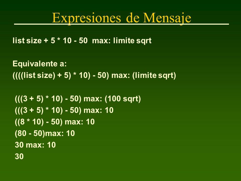 Expresiones de Mensaje list size + 5 * 10 - 50 max: limite sqrt Equivalente a: ((((list size) + 5) * 10) - 50) max: (limite sqrt) (((3 + 5) * 10) - 50) max: (100 sqrt) (((3 + 5) * 10) - 50) max: 10 ((8 * 10) - 50) max: 10 (80 - 50)max: 10 30 max: 10 30