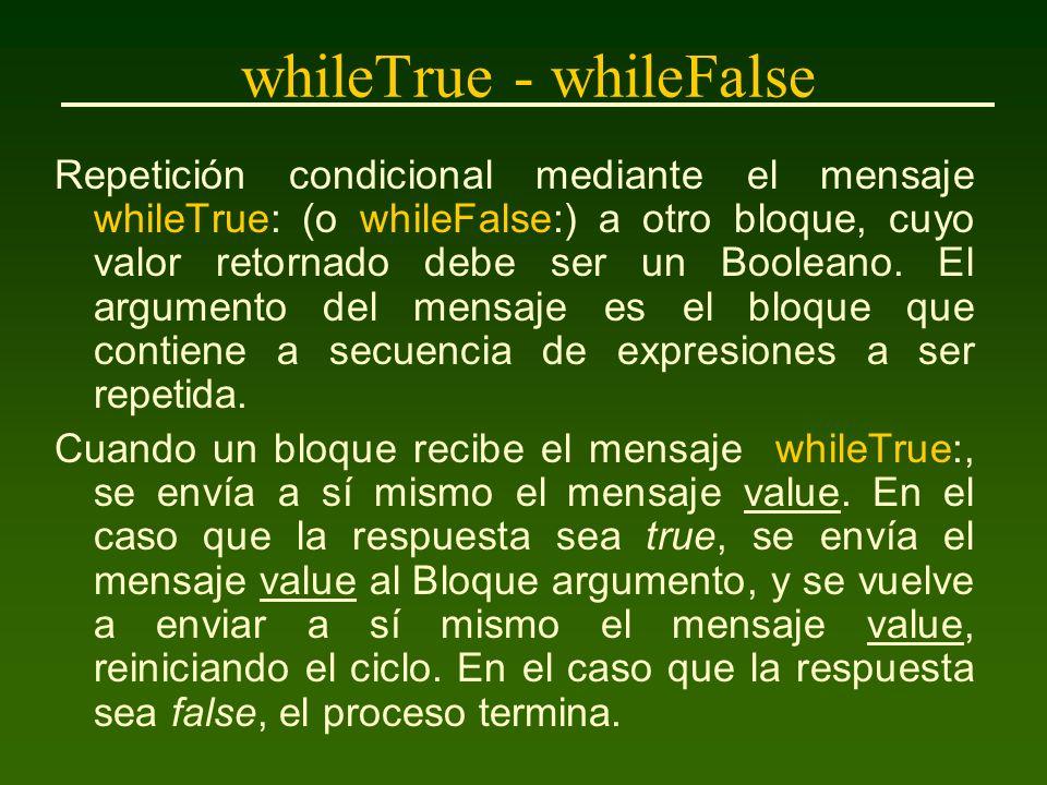 whileTrue - whileFalse Por ejemplo, para hacer que todos los elementos de un Array de nombre lista, tengan el valor 0, puede ser usada la siguiente secuencia: i := 1.