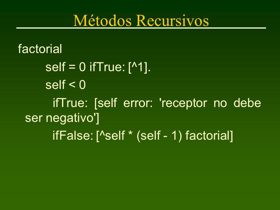 Métodos Recursivos factorial self = 0 ifTrue: [^1].