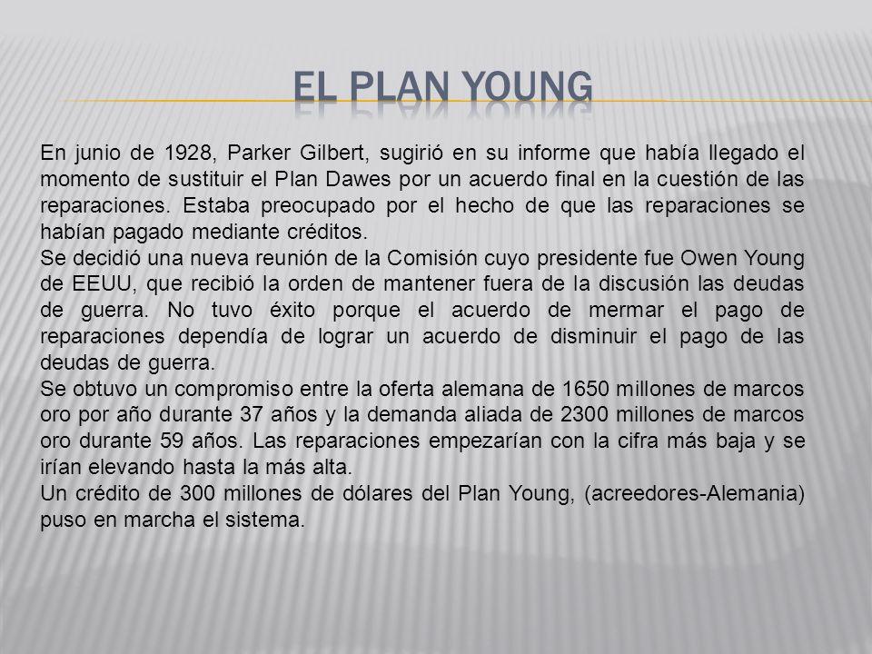 En junio de 1928, Parker Gilbert, sugirió en su informe que había llegado el momento de sustituir el Plan Dawes por un acuerdo final en la cuestión de