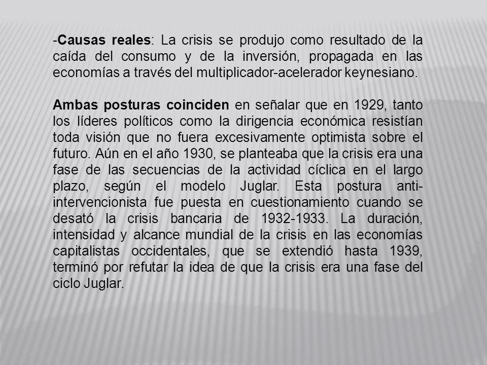 -Causas reales: La crisis se produjo como resultado de la caída del consumo y de la inversión, propagada en las economías a través del multiplicador-a