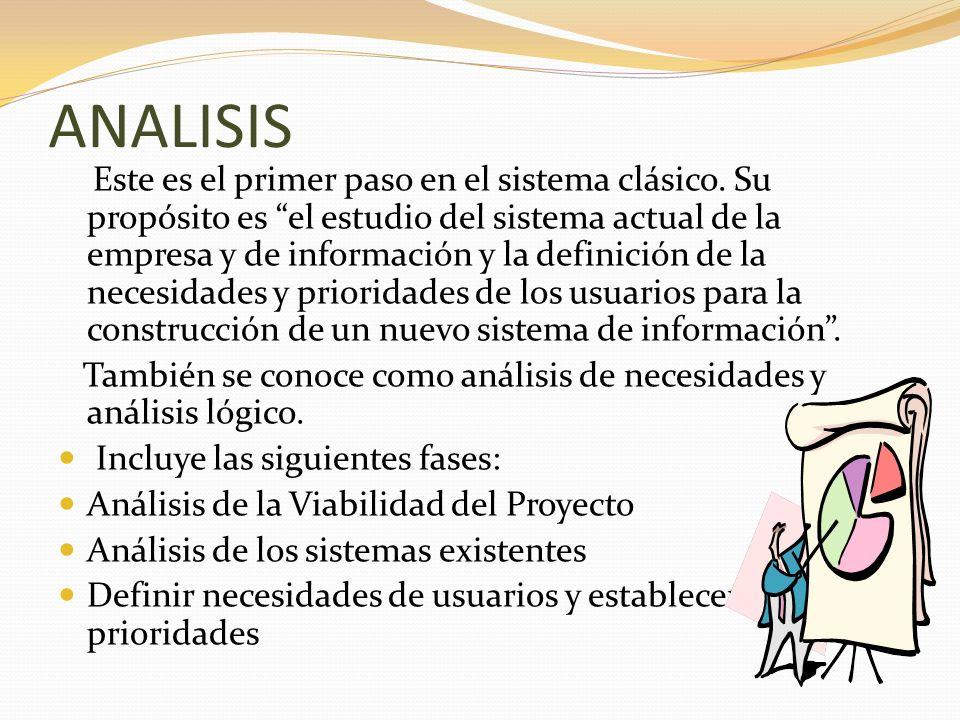 ANALISIS Este es el primer paso en el sistema clásico. Su propósito es el estudio del sistema actual de la empresa y de información y la definición de
