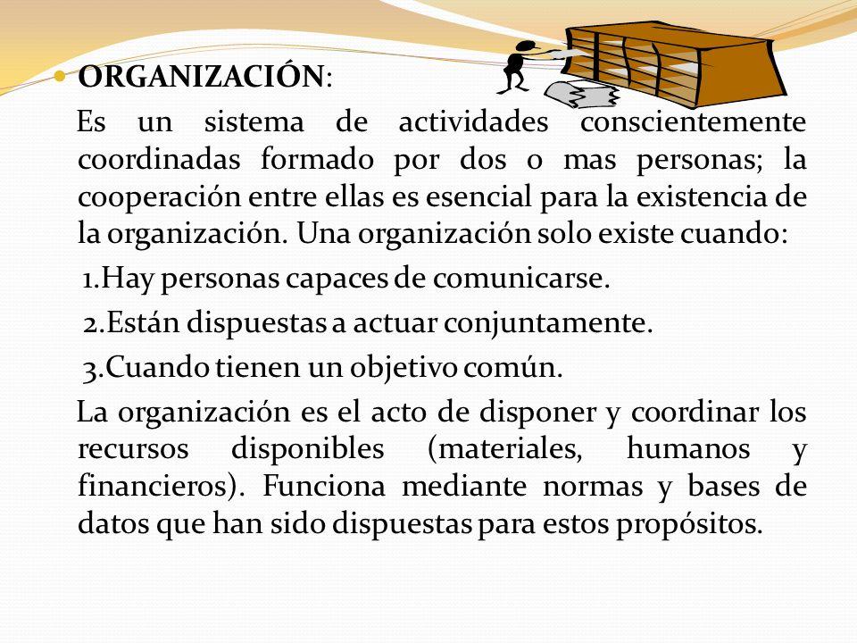 ORGANIZACIÓN: Es un sistema de actividades conscientemente coordinadas formado por dos o mas personas; la cooperación entre ellas es esencial para la