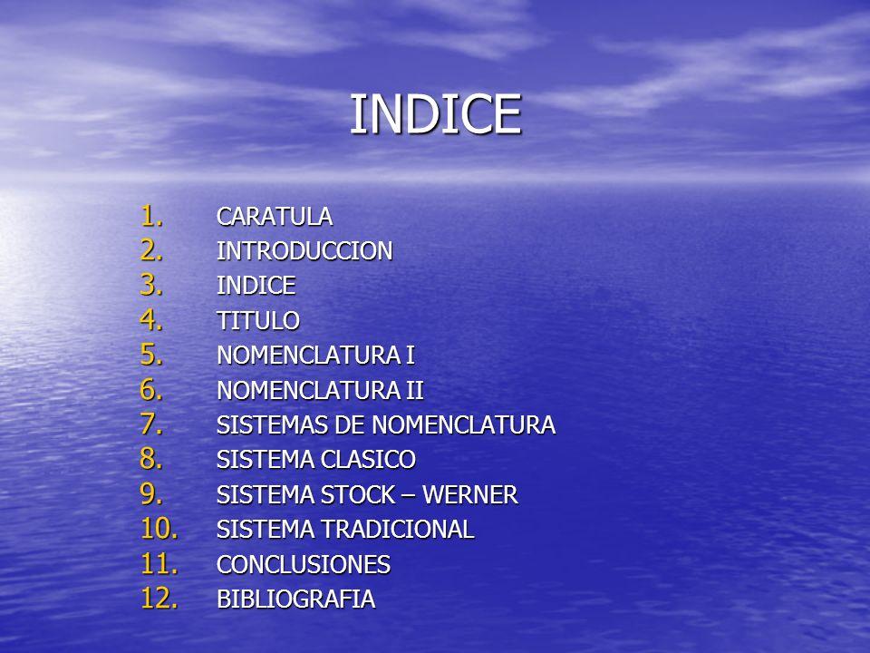 INDICE 1. CARATULA 2. INTRODUCCION 3. INDICE 4. TITULO 5. NOMENCLATURA I 6. NOMENCLATURA II 7. SISTEMAS DE NOMENCLATURA 8. SISTEMA CLASICO 9. SISTEMA