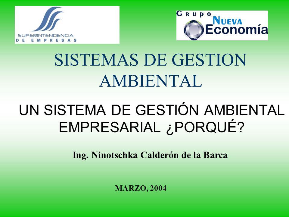 SISTEMAS DE GESTION AMBIENTAL UN SISTEMA DE GESTIÓN AMBIENTAL EMPRESARIAL ¿PORQUÉ? Ing. Ninotschka Calderón de la Barca MARZO, 2004