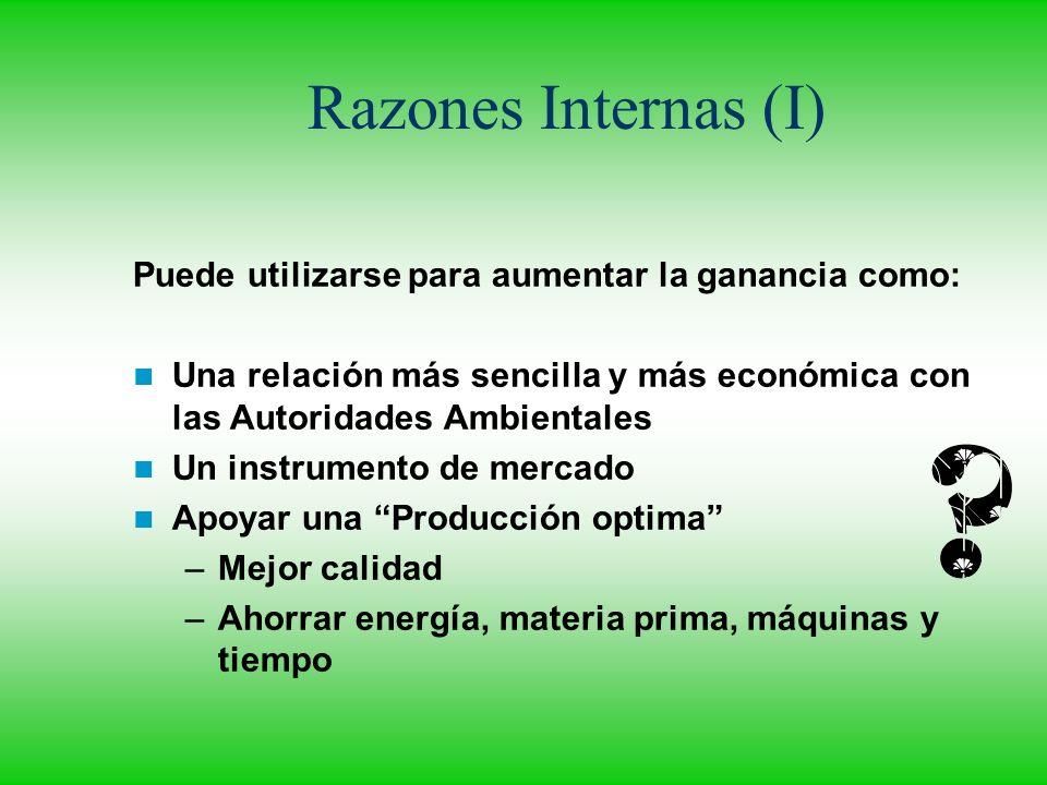 Razones Internas (I) Puede utilizarse para aumentar la ganancia como: Una relación más sencilla y más económica con las Autoridades Ambientales Un ins