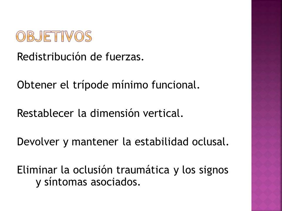 Redistribución de fuerzas. Obtener el trípode mínimo funcional. Restablecer la dimensión vertical. Devolver y mantener la estabilidad oclusal. Elimina
