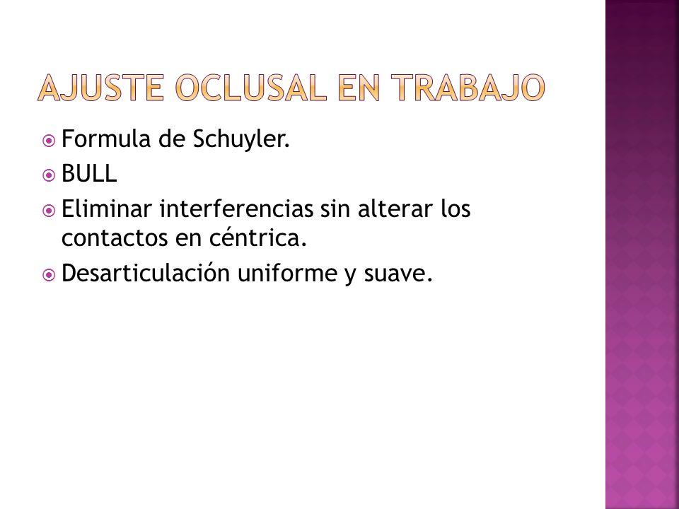 Formula de Schuyler. BULL Eliminar interferencias sin alterar los contactos en céntrica. Desarticulación uniforme y suave.