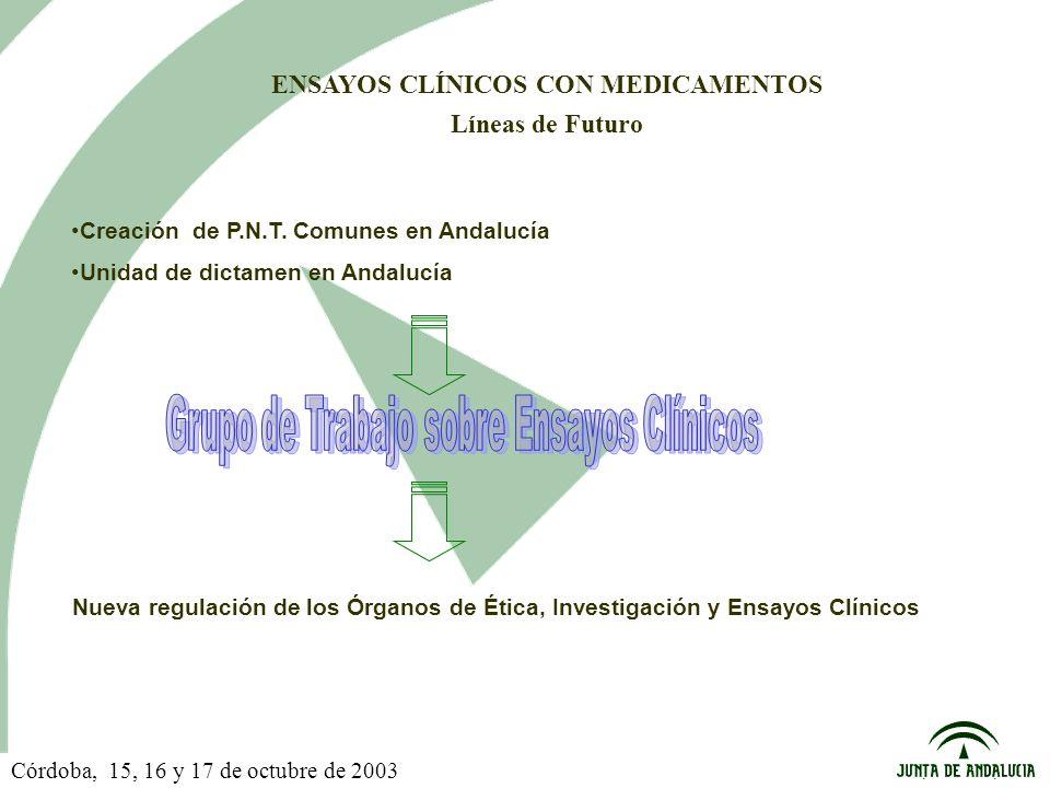 ENSAYOS CLÍNICOS CON MEDICAMENTOS Líneas de Futuro Creación de P.N.T.