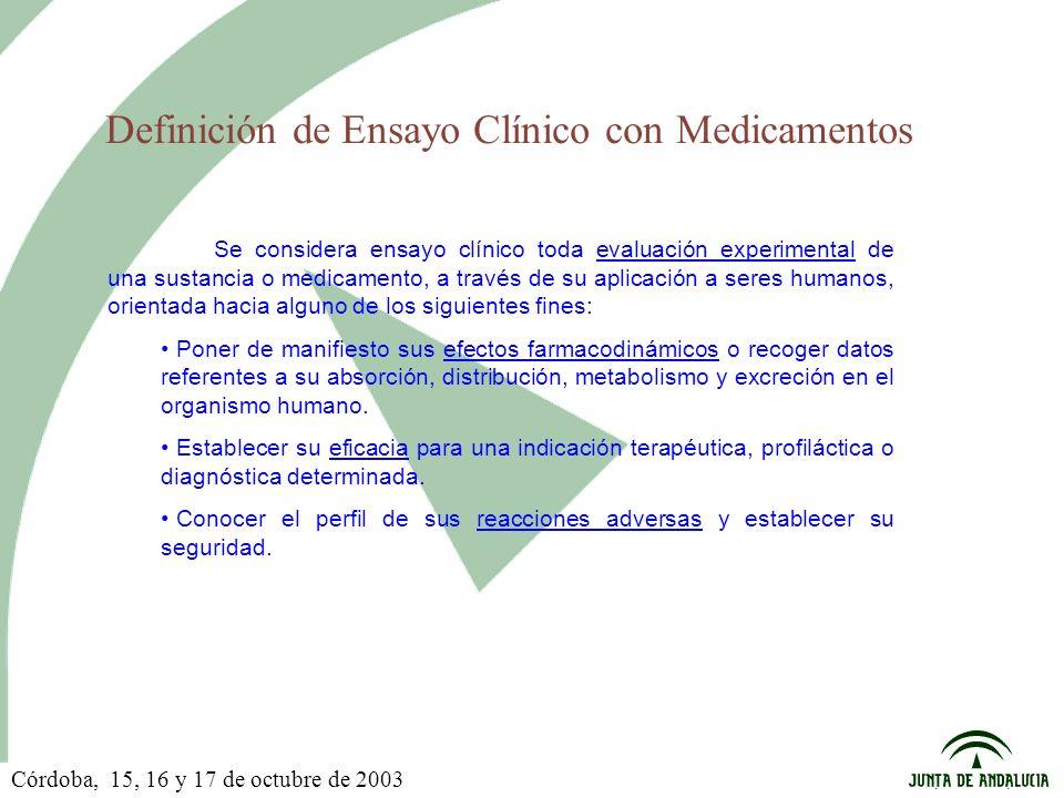 Definición de Ensayo Clínico con Medicamentos Se considera ensayo clínico toda evaluación experimental de una sustancia o medicamento, a través de su