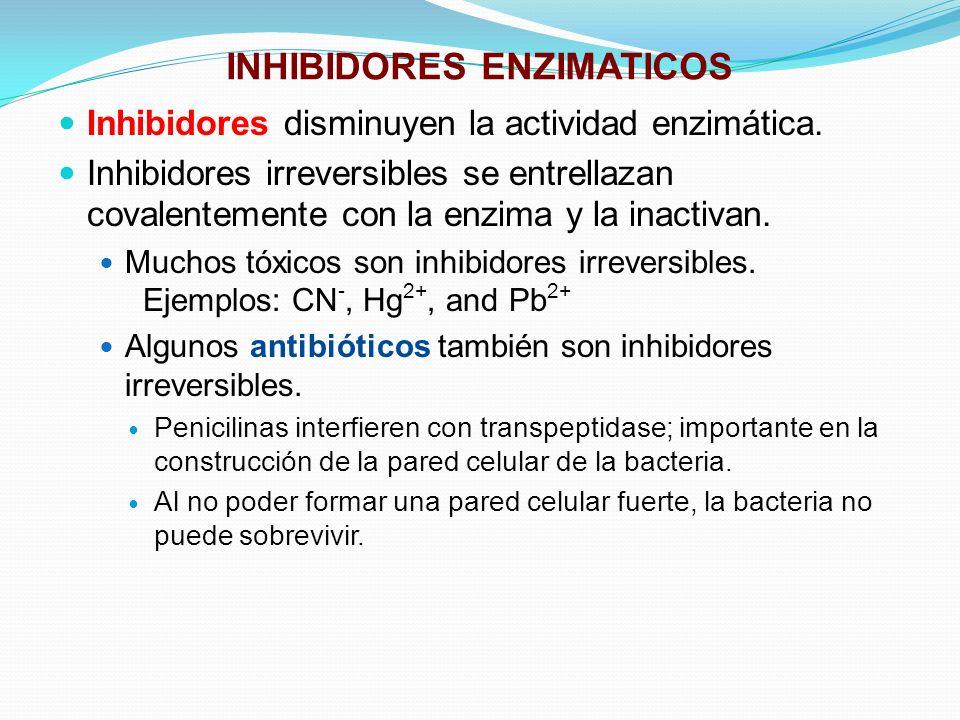 INHIBIDORES ENZIMATICOS Inhibidores disminuyen la actividad enzimática. Inhibidores irreversibles se entrellazan covalentemente con la enzima y la ina