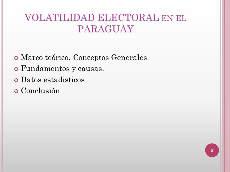 VOLATILIDAD ELECTORAL FUENTE: VARIACIONES EN EL COMPORTAMIENTO ELECTORAL EN PARAGUAY Changes in electoral behavior in Paraguay Liliana DUARTE RECALDE Centro de Políticas Públicas Universidad Católica Nuestra Señora de la Asunción, Paraguay rociohk@yahoo.com BIBLID [1130-2887 (2012) 60, 117-138] Fecha de recepción: 8 de diciembre del 2011 Fecha de aceptación y versión final: 30 de enero del 2012 3