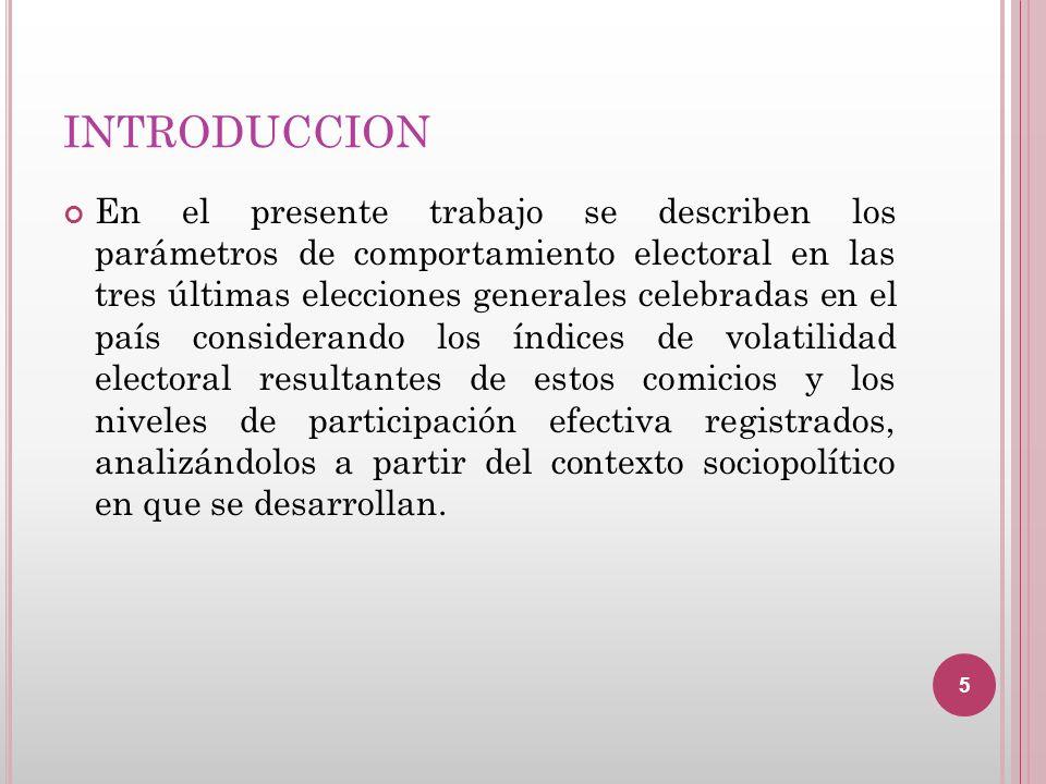 INTRODUCCION En el presente trabajo se describen los parámetros de comportamiento electoral en las tres últimas elecciones generales celebradas en el
