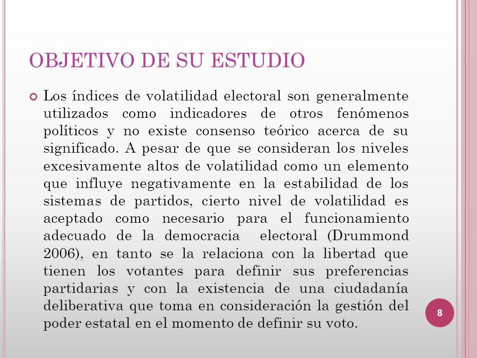 OBJETIVO DE SU ESTUDIO Los índices de volatilidad electoral son generalmente utilizados como indicadores de otros fenómenos políticos y no existe cons