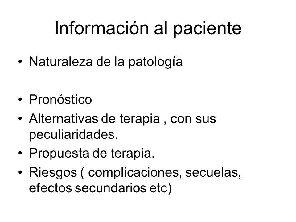 Información al paciente Naturaleza de la patología Pronóstico Alternativas de terapia, con sus peculiaridades. Propuesta de terapia. Riesgos ( complic