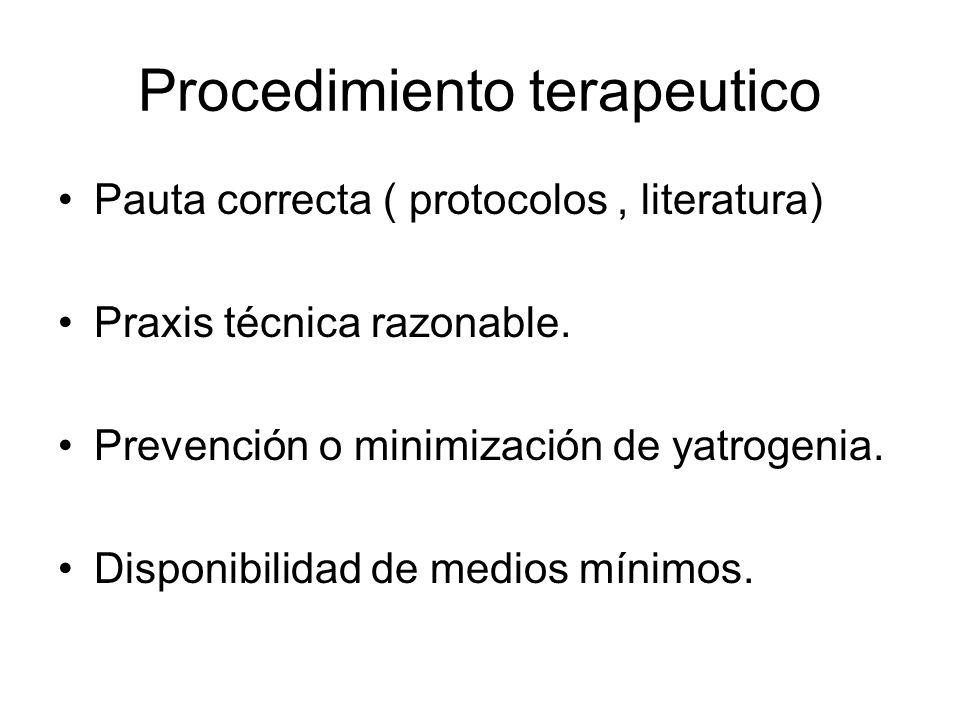 Procedimiento terapeutico Pauta correcta ( protocolos, literatura) Praxis técnica razonable. Prevención o minimización de yatrogenia. Disponibilidad d