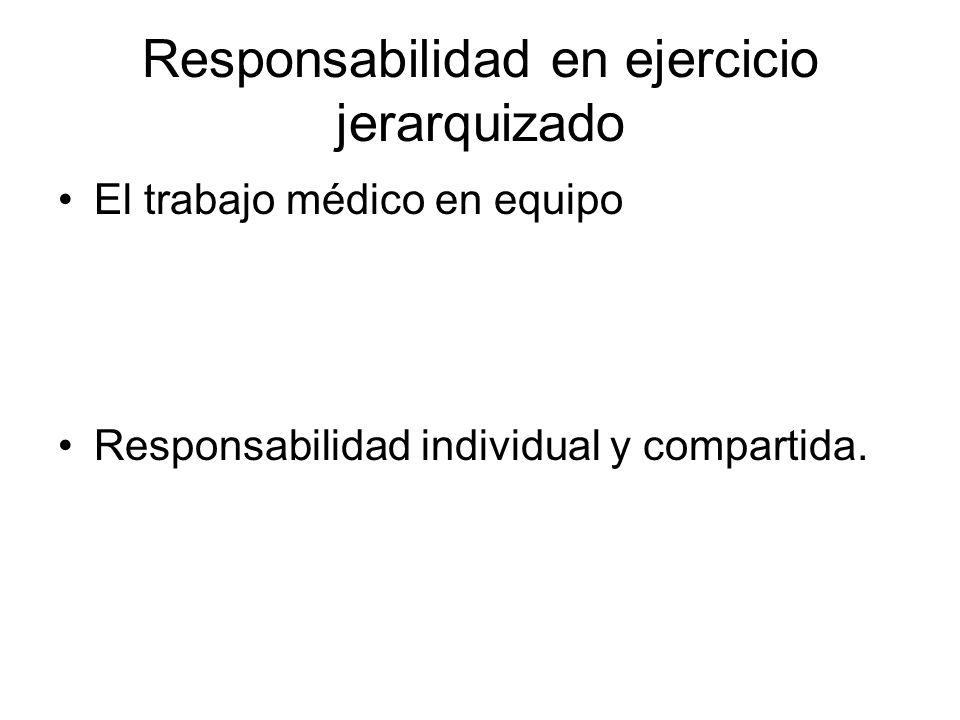Responsabilidad en ejercicio jerarquizado El trabajo médico en equipo Responsabilidad individual y compartida.