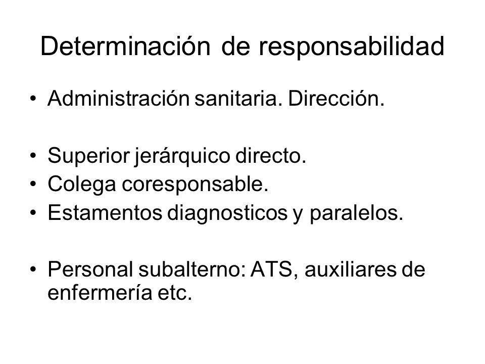 Determinación de responsabilidad Administración sanitaria. Dirección. Superior jerárquico directo. Colega coresponsable. Estamentos diagnosticos y par
