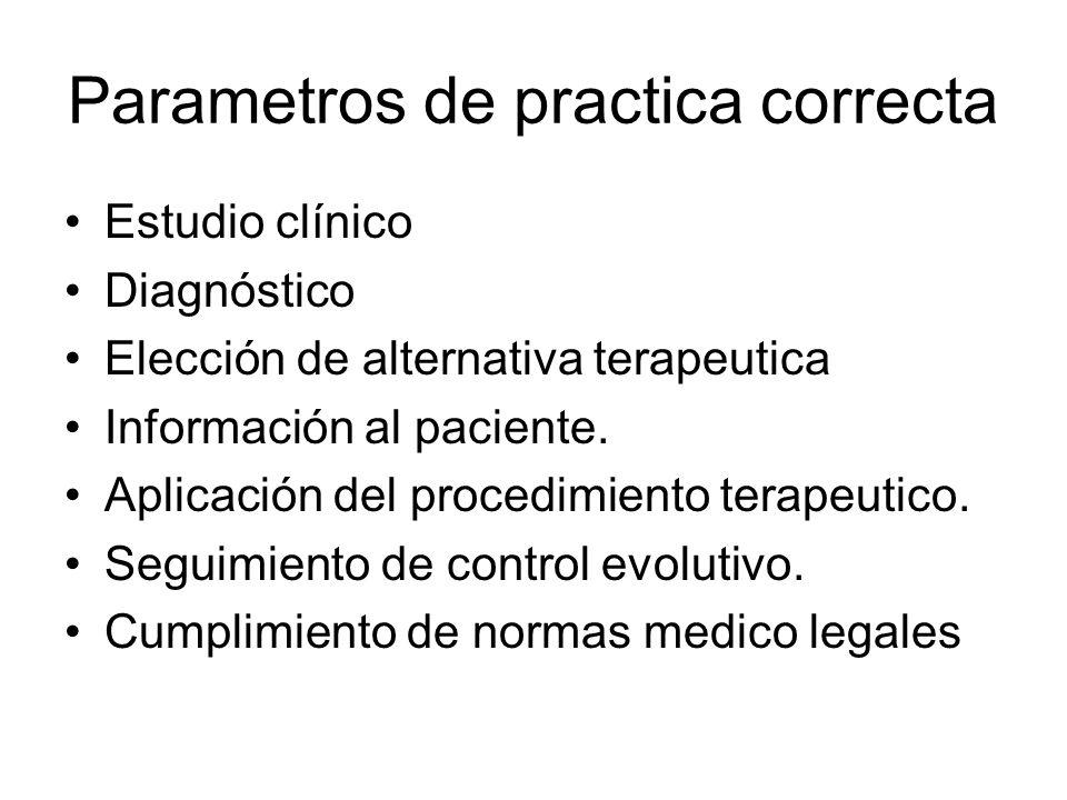 Parametros de practica correcta Estudio clínico Diagnóstico Elección de alternativa terapeutica Información al paciente. Aplicación del procedimiento