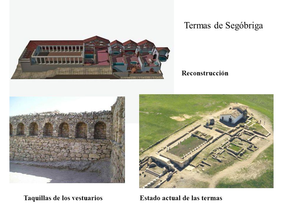 Termas de Segóbriga Reconstrucción Taquillas de los vestuarios Estado actual de las termas