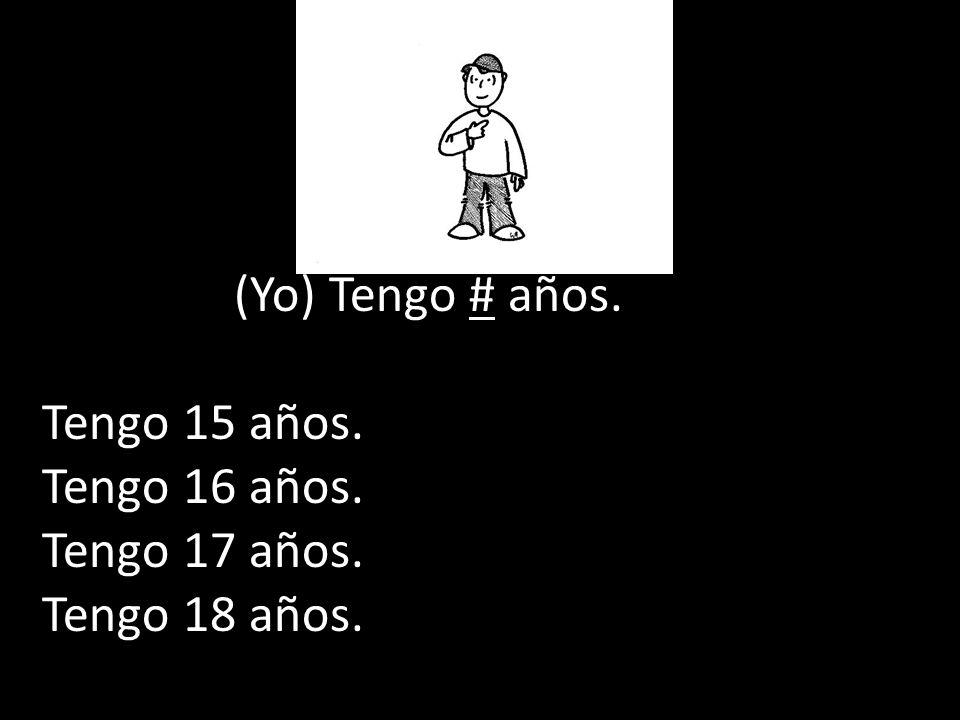 (Yo) Tengo # años. Tengo 15 años. Tengo 16 años. Tengo 17 años. Tengo 18 años.
