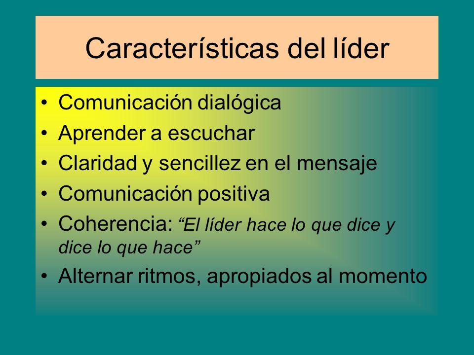EL líder Autoridad de la directiva Liderazgo ganado por sí mismo Persuade de un objetivo común Todo ello basado en la intercomunicación Comunicación a
