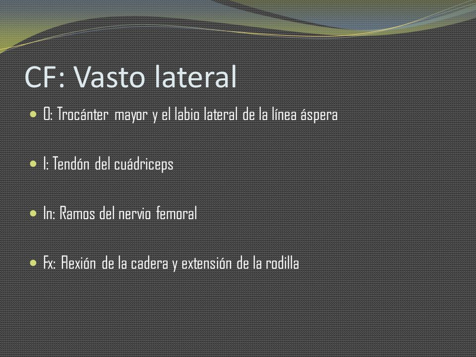 CF: Vasto lateral O: Trocánter mayor y el labio lateral de la línea áspera I: Tendón del cuádriceps In: Ramos del nervio femoral Fx: Flexión de la cad