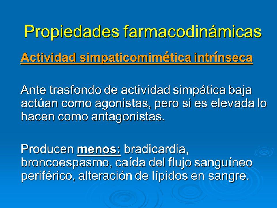 Propiedades farmacodinámicas Actividad simpaticomim é tica intr í nseca Actividad simpaticomim é tica intr í nseca Ante trasfondo de actividad simpáti