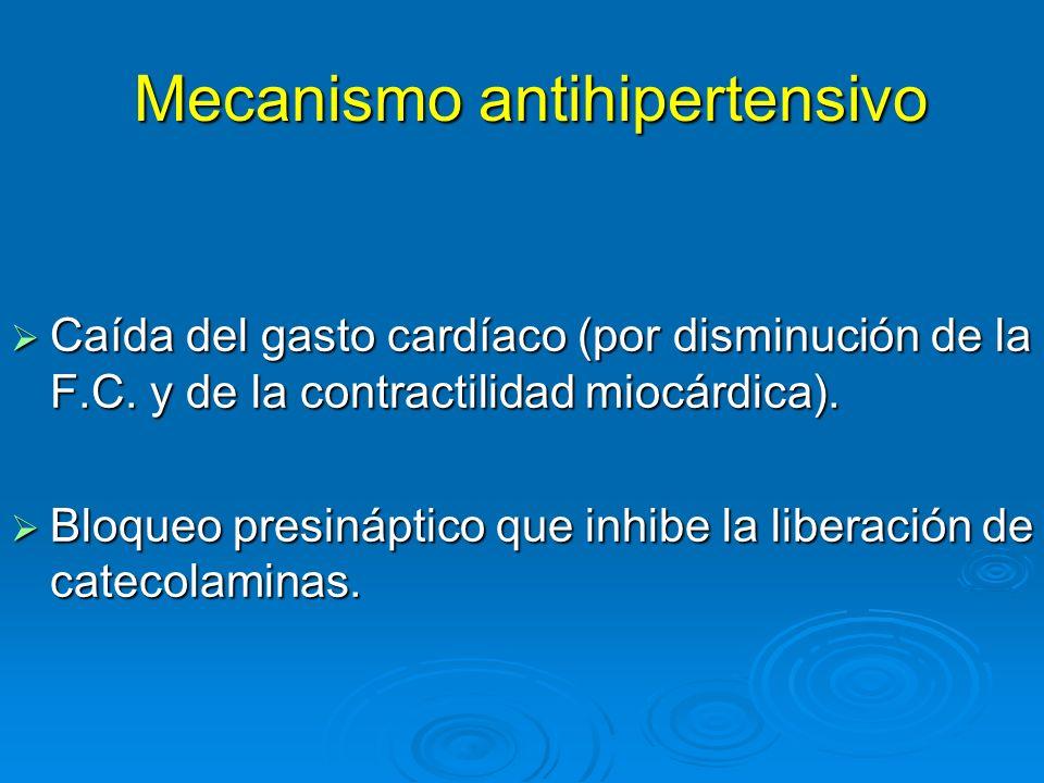 Mecanismo antihipertensivo Mecanismo antihipertensivo Caída del gasto cardíaco (por disminución de la F.C. y de la contractilidad miocárdica). Caída d