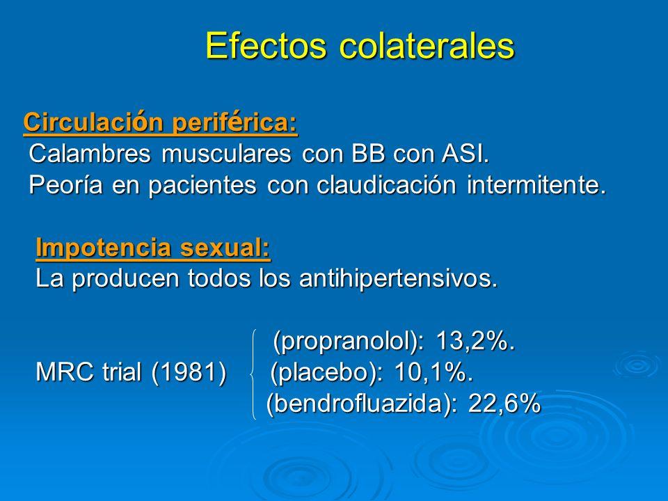 Efectos colaterales Efectos colaterales Circulaci ó n perif é rica: Circulaci ó n perif é rica: Calambres musculares con BB con ASI. Calambres muscula