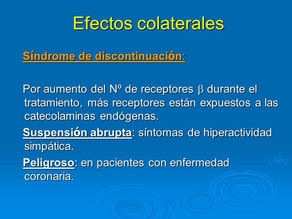 Efectos colaterales Efectos colaterales S í ndrome de discontinuaci ó n: S í ndrome de discontinuaci ó n: Por aumento del Nº de receptores durante el