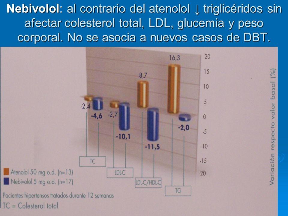 Nebivolol: al contrario del atenolol triglicéridos sin afectar colesterol total, LDL, glucemia y peso corporal. No se asocia a nuevos casos de DBT.