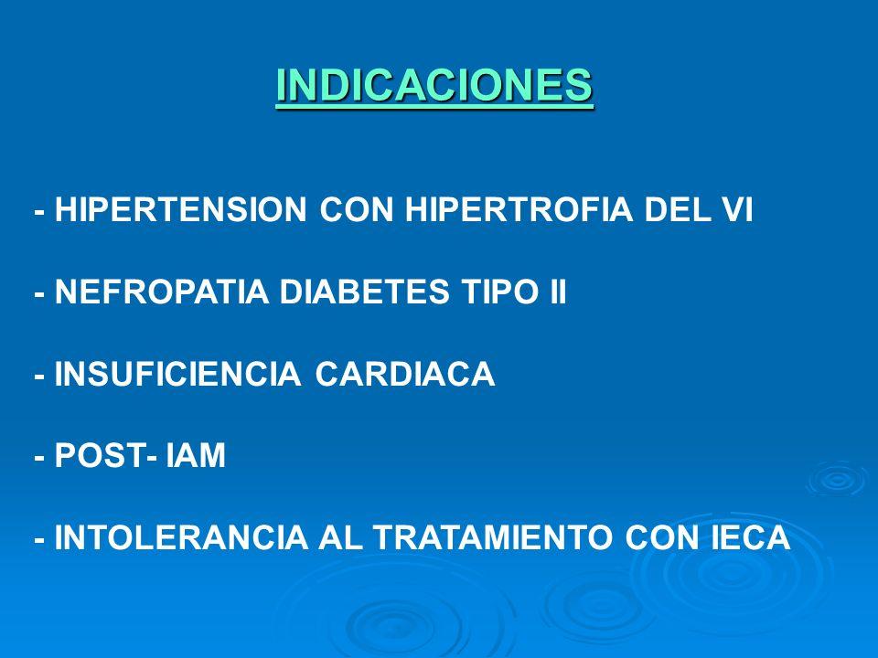 INDICACIONES - HIPERTENSION CON HIPERTROFIA DEL VI - NEFROPATIA DIABETES TIPO II - INSUFICIENCIA CARDIACA - POST- IAM - INTOLERANCIA AL TRATAMIENTO CO