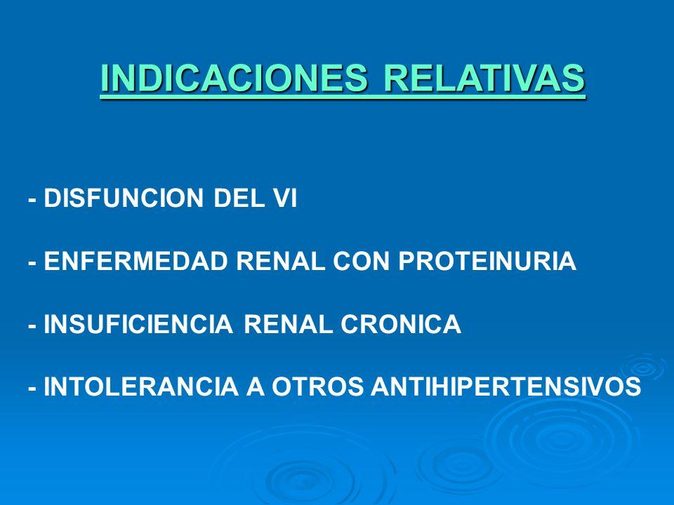 INDICACIONES RELATIVAS - DISFUNCION DEL VI - ENFERMEDAD RENAL CON PROTEINURIA - INSUFICIENCIA RENAL CRONICA - INTOLERANCIA A OTROS ANTIHIPERTENSIVOS