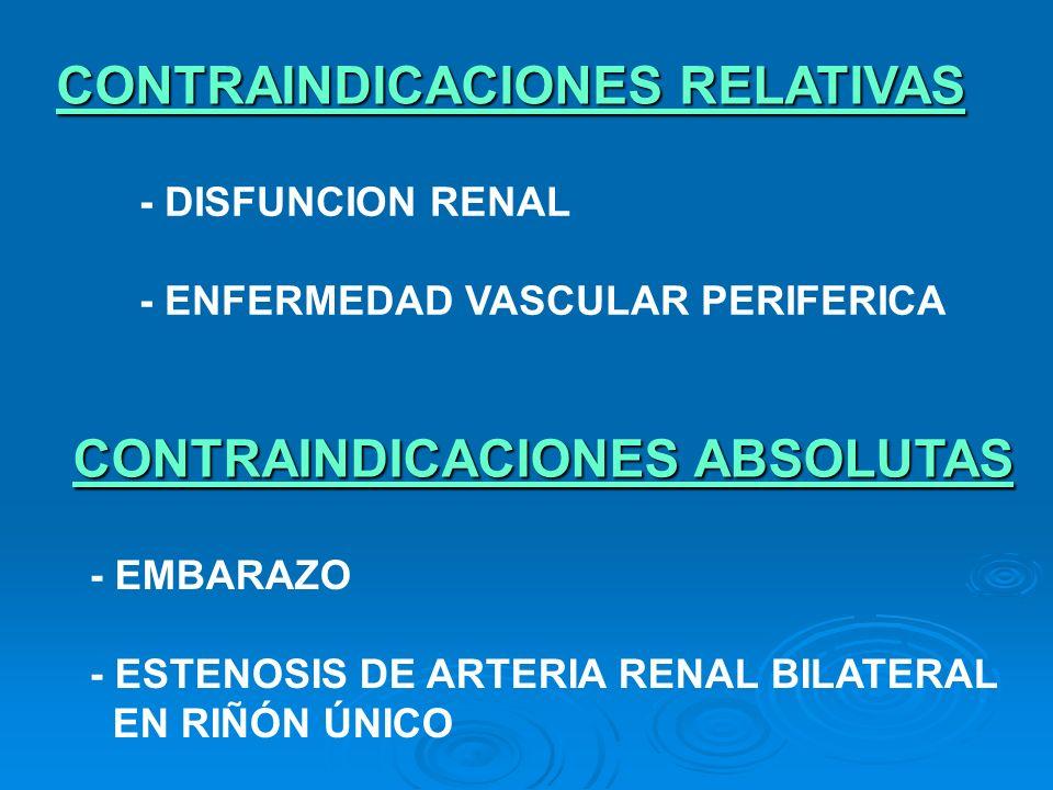 CONTRAINDICACIONES RELATIVAS - DISFUNCION RENAL - ENFERMEDAD VASCULAR PERIFERICA CONTRAINDICACIONES ABSOLUTAS - EMBARAZO - ESTENOSIS DE ARTERIA RENAL
