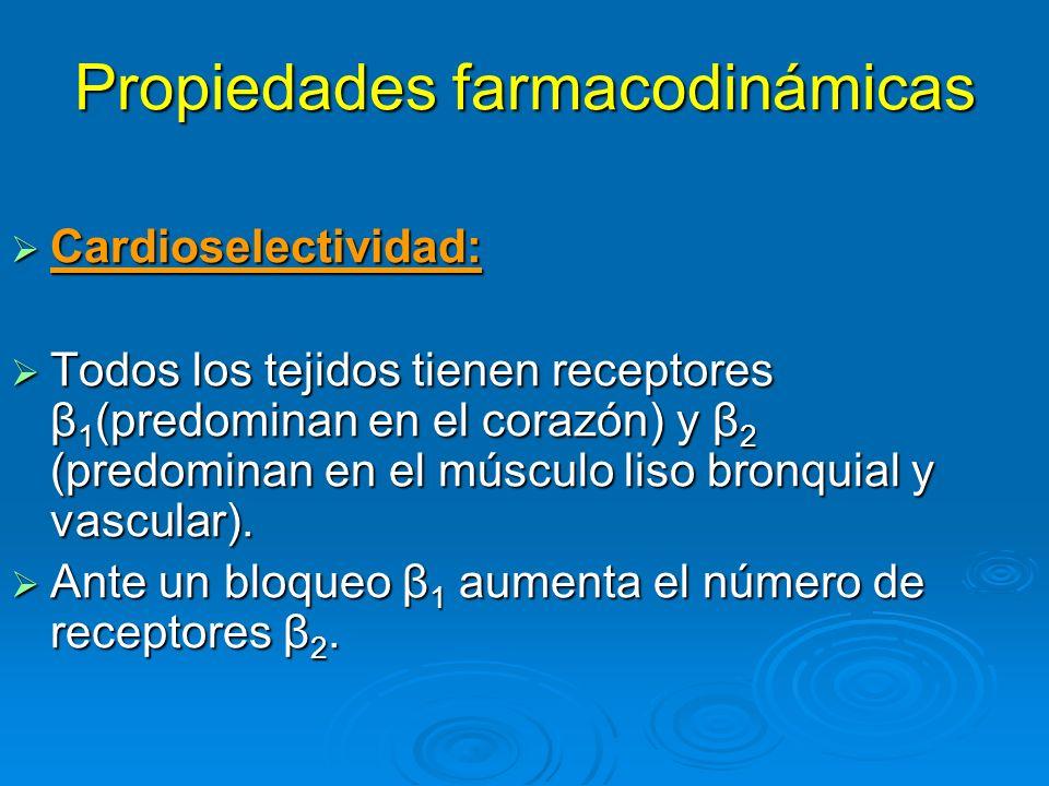 Propiedades farmacodinámicas Al requerirse altos niveles de catecolaminas endógenas (ataque de asma) aún mínimos grados de bloqueo β 2 con un β bloqueante cardioselectivo (bisoprolol) provoca trastornos.