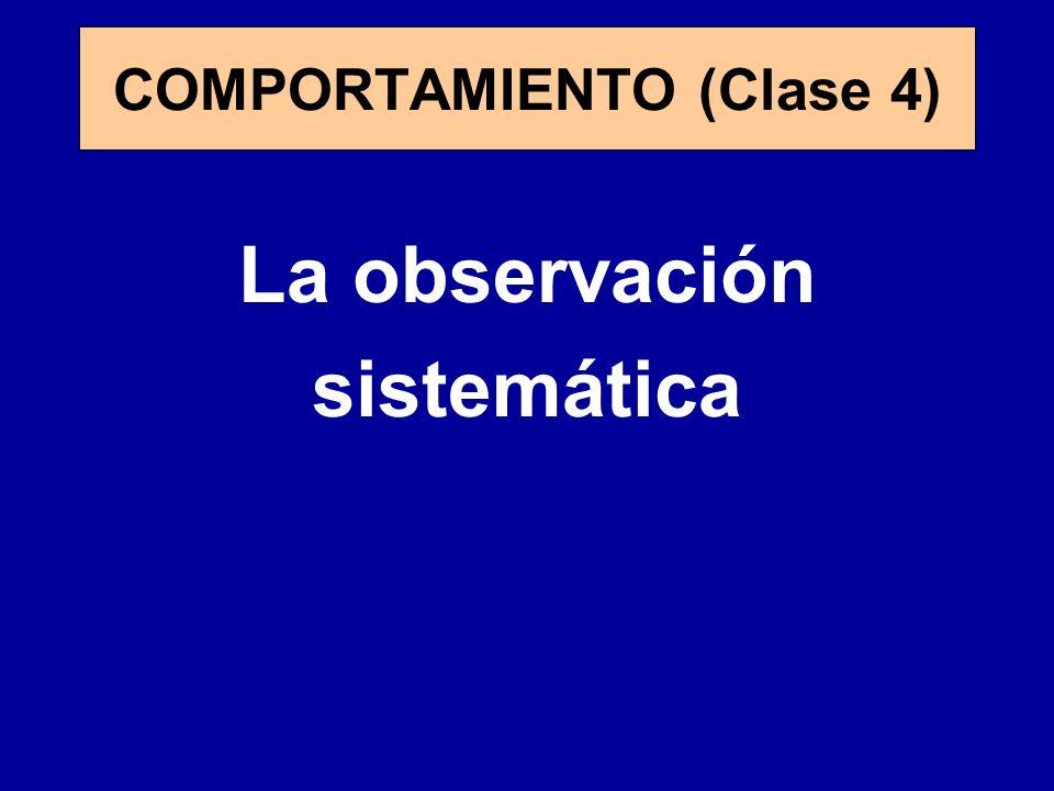 La observación sistemática COMPORTAMIENTO (Clase 4)