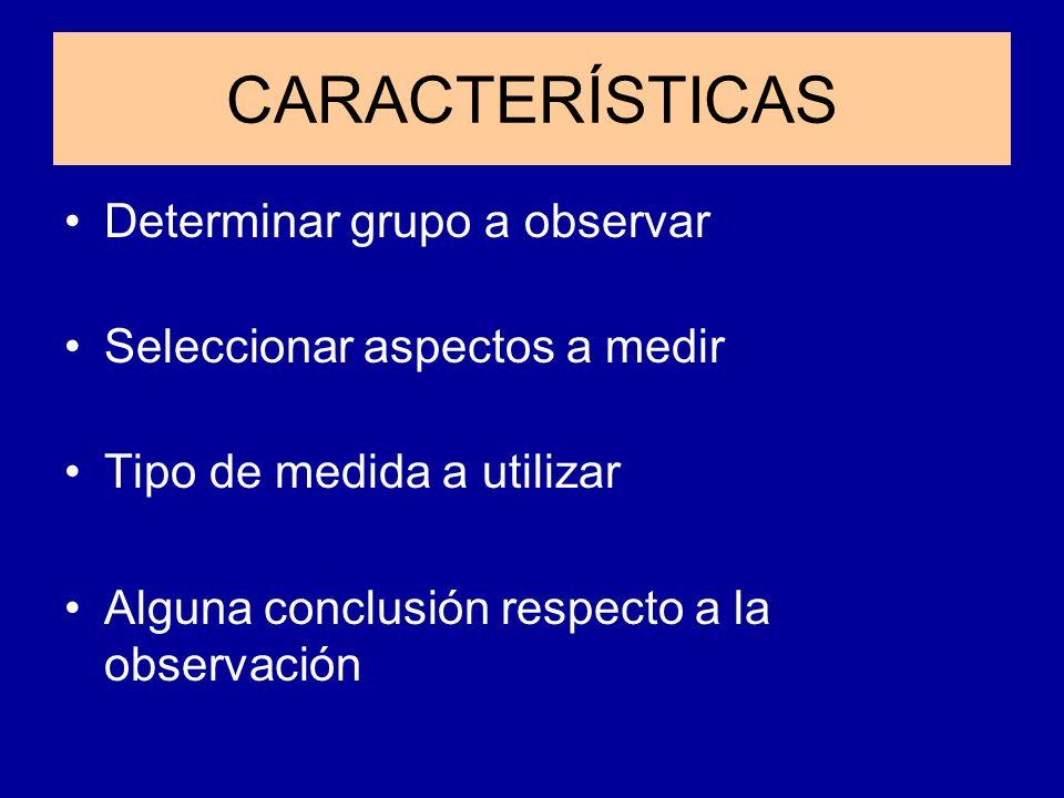 CARACTERÍSTICAS Determinar grupo a observar Seleccionar aspectos a medir Tipo de medida a utilizar Alguna conclusión respecto a la observación